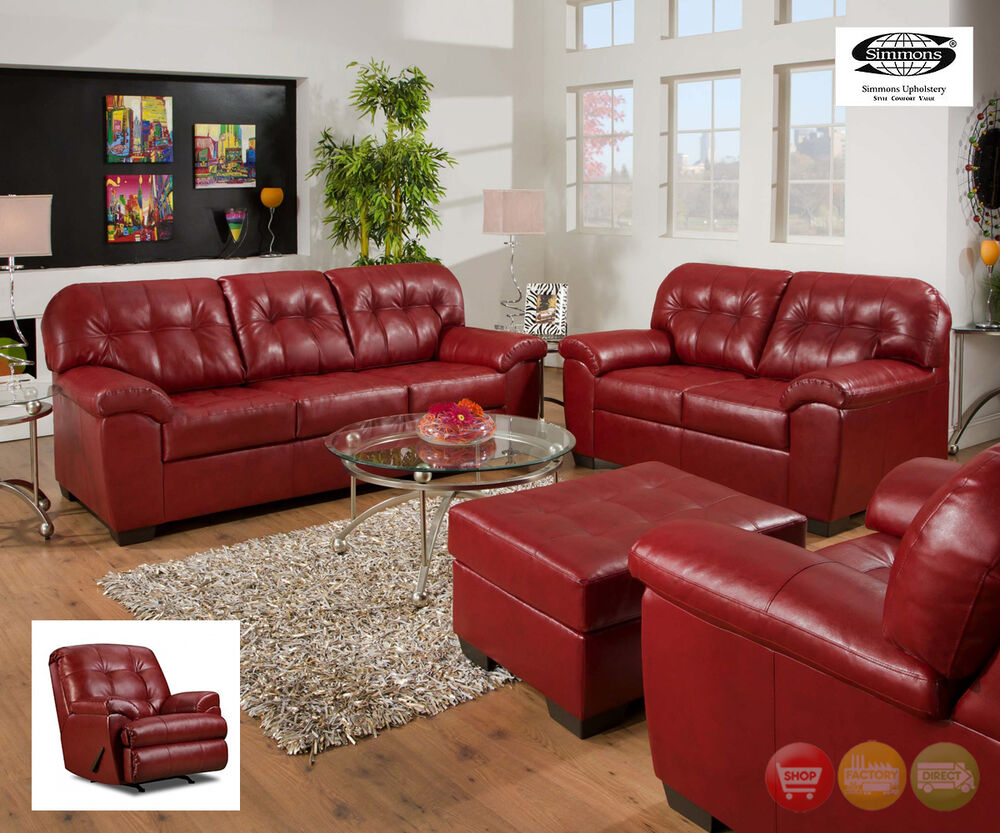 Soho Red Bonded Leather Sofa Love Seat Reclining Chair 3 Piece Living Room Set Ebay