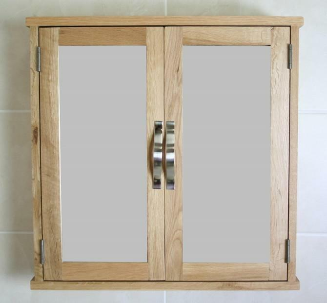 Oak wall mounted 2 door mirrored bathroom storage cabinet - Bathroom storage mirrored cabinet ...