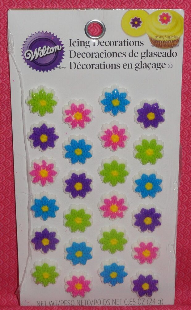 Wilton Cake Decorating Icing Flowers : Flowers,Mini Edible Cupcake Toppers,Icing Decoration ...