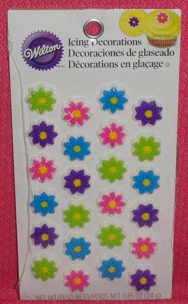 Wilton Cake Decorating Making Flowers : Flowers,Mini Edible Cupcake Toppers,Icing Decoration ...