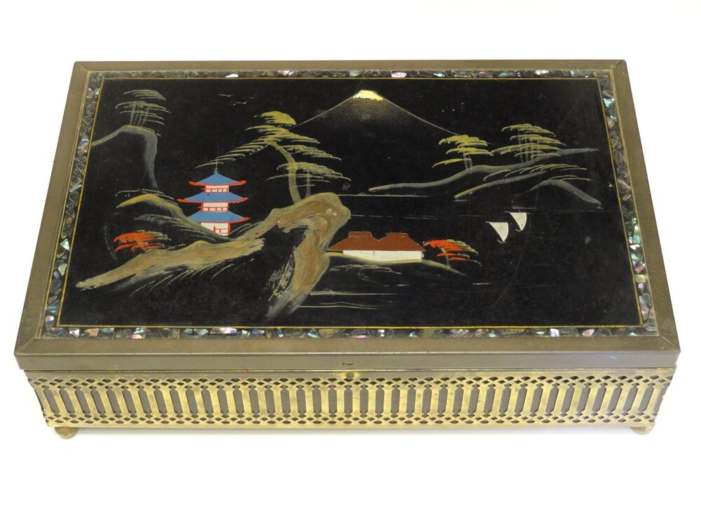 Large Mid Century Japanese Hand Painted Abalone Inlay