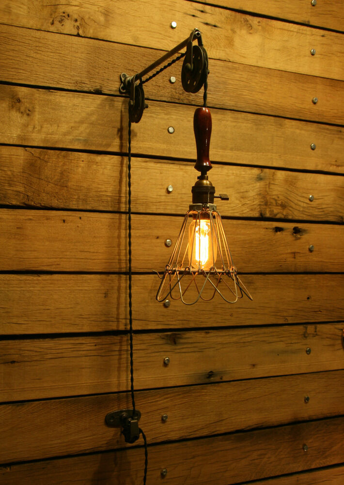 Industrial Trouble Light Pulley Sconce Wall Mount With