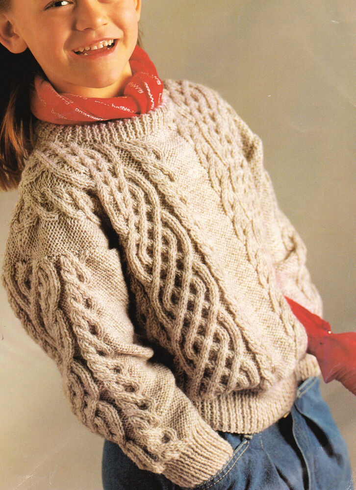 Aran Childrens Knitting Patterns : Celtic Braided Cable Aran Style Childrens Sweater 24