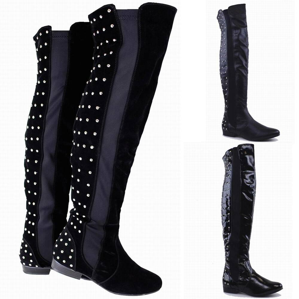 womens thigh high boots flat studded boots the