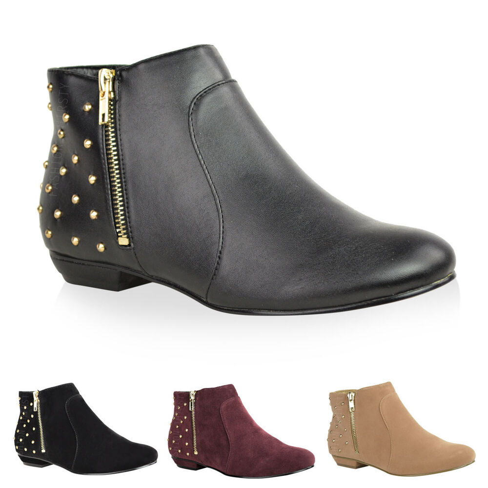 new womens ankle boots low heel pixie gold zip