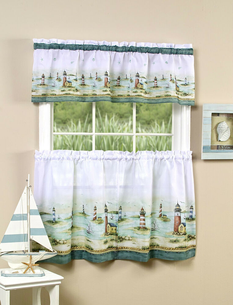 Lighthouse Kitchen Curtain Tier And Valance Set By