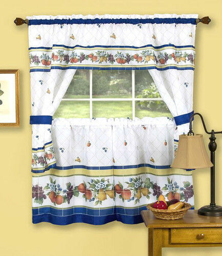Fruity Tiles Tailored Cottage™ Kitchen Curtain Set By