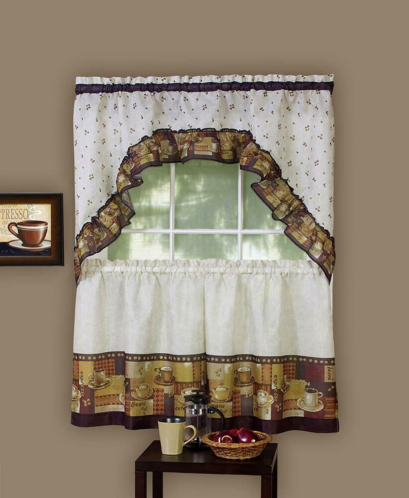 Coffee Complete Kitchen Curtain Tier And Swag Set