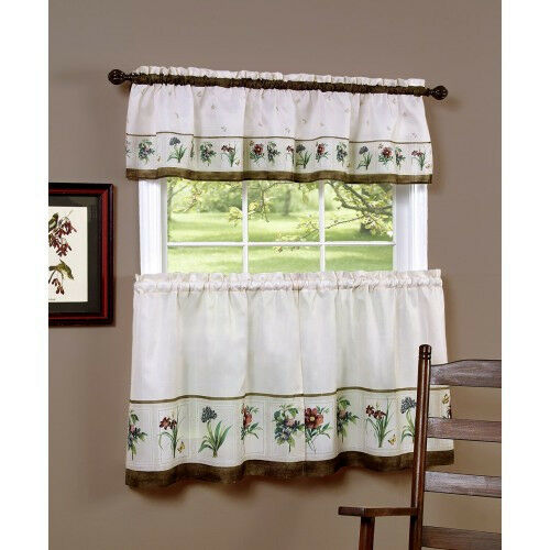 Botanical™ Kitchen Curtain Tier Pair And Valance Set By