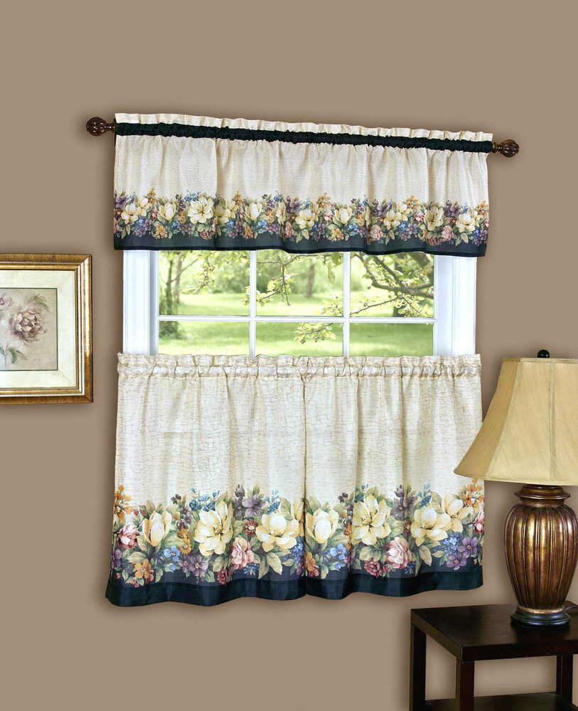 Antique floral kitchen curtain tier and valance set by for Valance curtains for kitchen