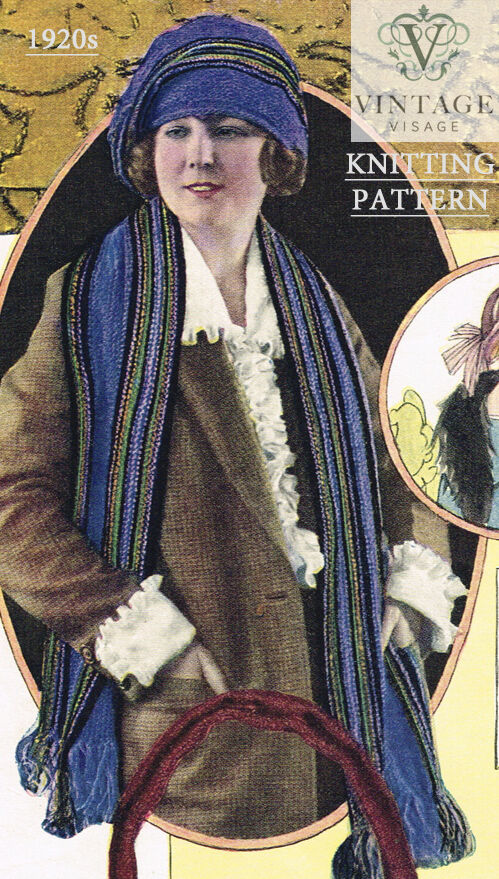 Vintage Knitting Patterns 1920s : Vintage Visage knitting pattern for stylish 1920s flapper striped hat and sca...