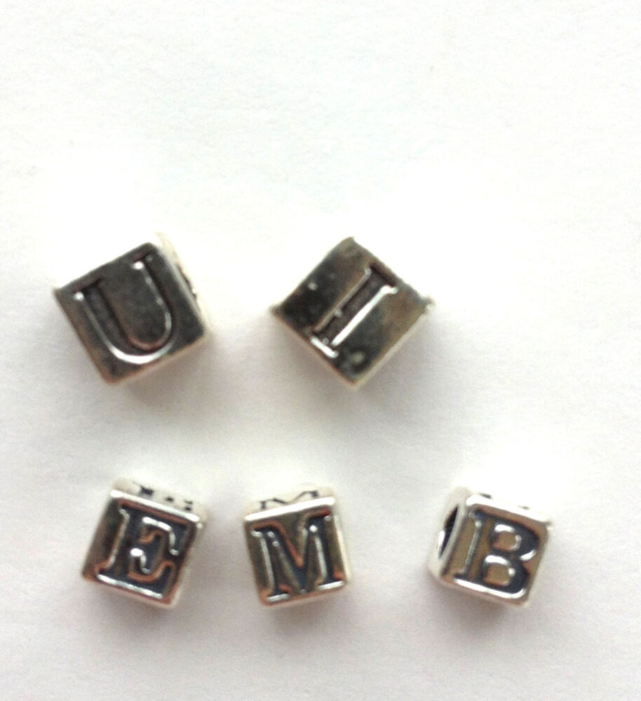 Silver Alphabet Beads: Sterling Silver Alphabet Beads - 4.5mm And 5.6mm