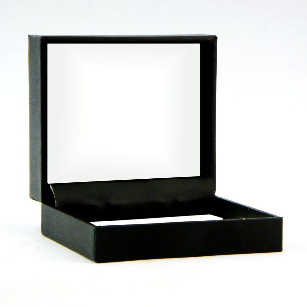 Jewelry gift box hinged lid embossed black cardboard white for Small cardboard jewelry boxes with lids