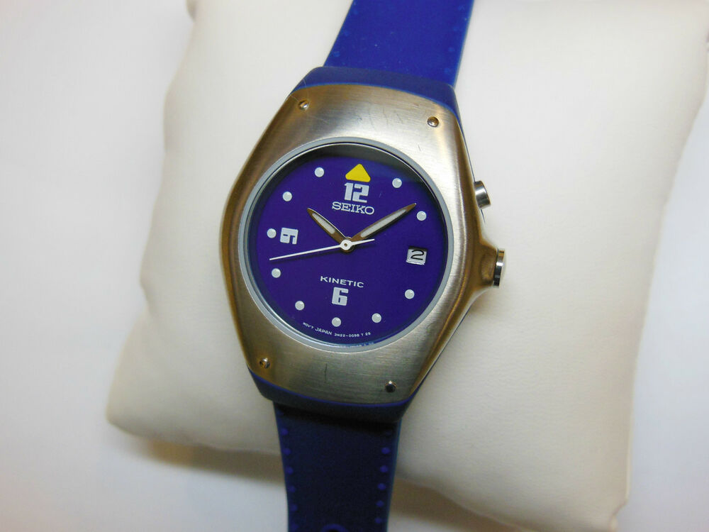 Rare seiko kinetic sample watch ladies swp313 3m22 0d89 blue silicon non working ebay for Seiko kinetic watches