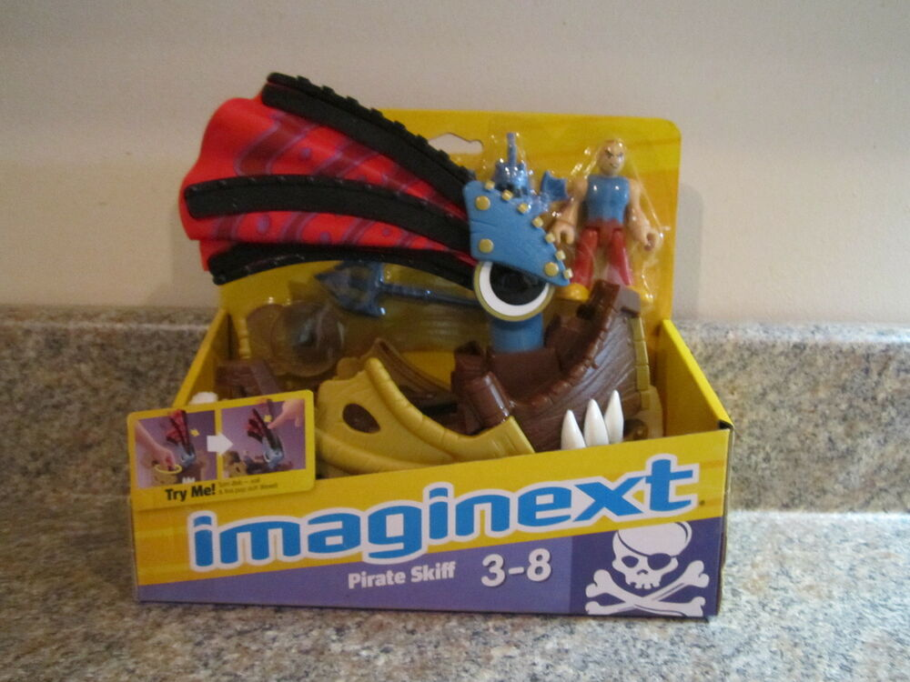 Fisher Price Imaginext Castle New Pirate Skiff boat sail ship mask weapon disk   eBay