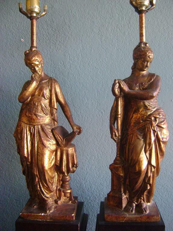 Vintage Figural Table Lamps Muse Brass Greek Roman Goddess