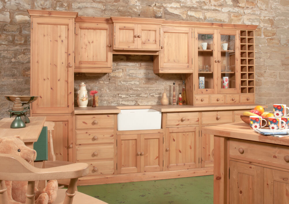 Solid pine bespoke farmhouse kitchen units islands for Pine kitchen furniture