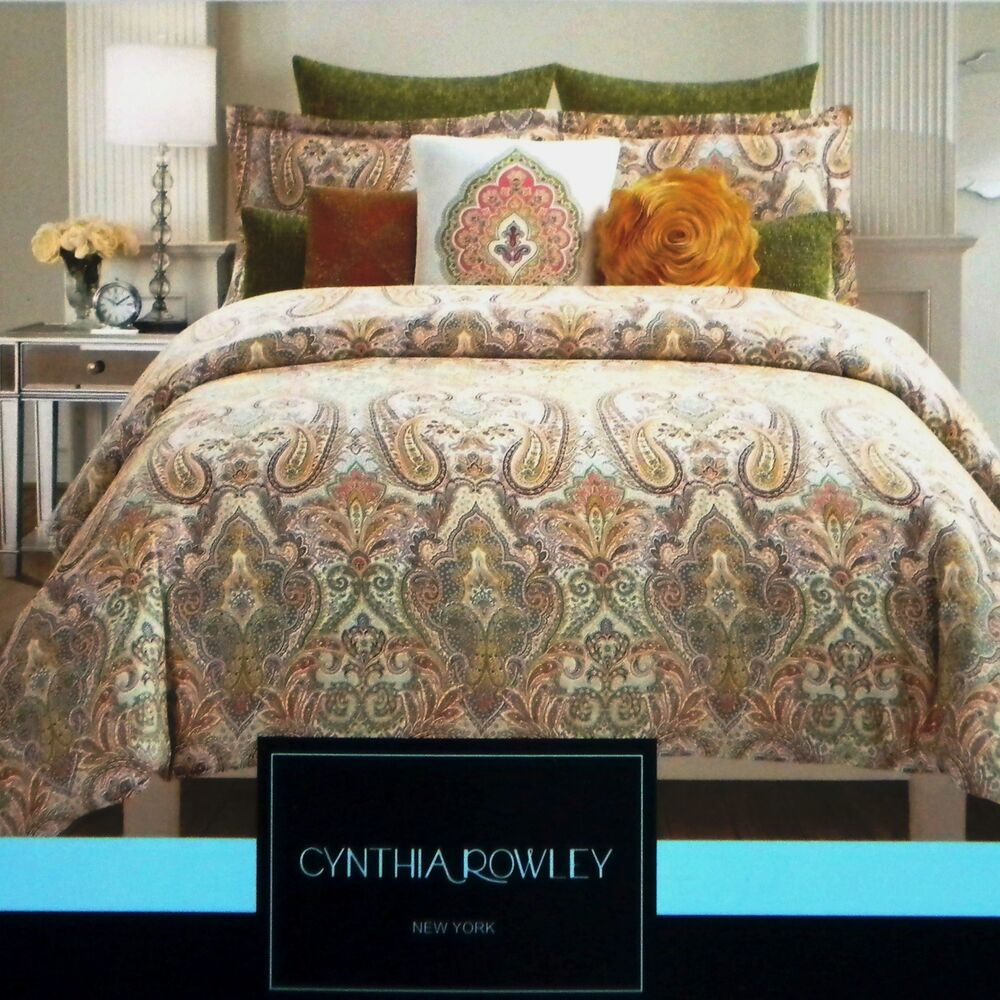 Cynthia rowley 3pc paisley medallion moroccan f queen for Cynthia rowley bedding