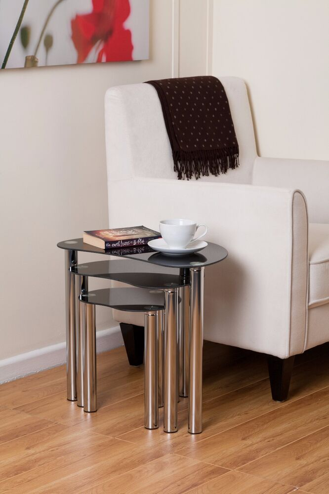 Geo glass set of 3 nesting tables chrome legs transluscent glass gnt07sk ebay Geo glass coffee table