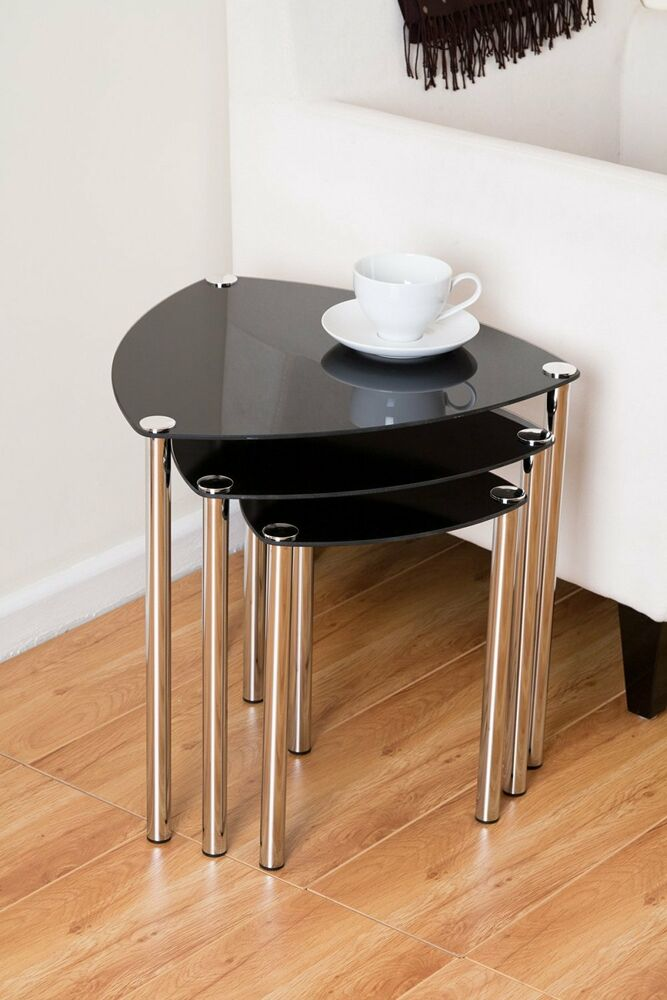 Arena Stylish Set Of 3 Black Glass Nesting Tables Side Table Coffee Table Gnt06b Ebay