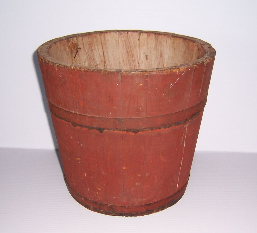 antique primitive shaker wooden red painted wood sap bucket ebay. Black Bedroom Furniture Sets. Home Design Ideas