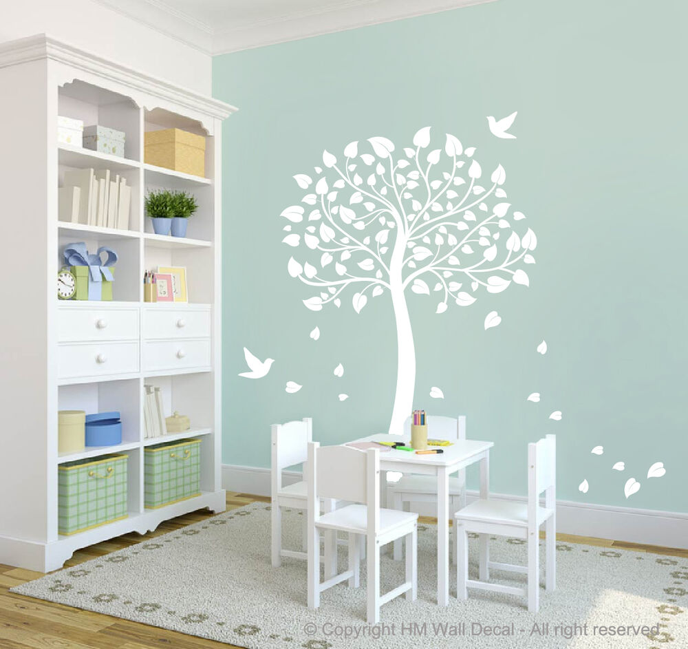 cot side tree for nursery or kids room diy removable wall decal ebay. Black Bedroom Furniture Sets. Home Design Ideas