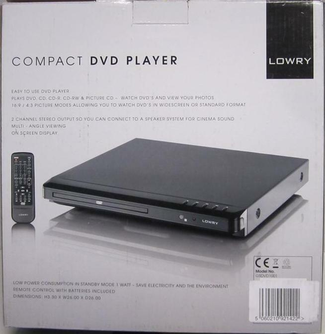 lowry gsdvd100 compact dvd player scart 16 9 multi angle ebay. Black Bedroom Furniture Sets. Home Design Ideas
