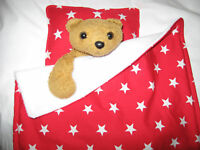 DOLL TEDDY cot pram BLANKET BEDDING PILLOW SET RED STAR