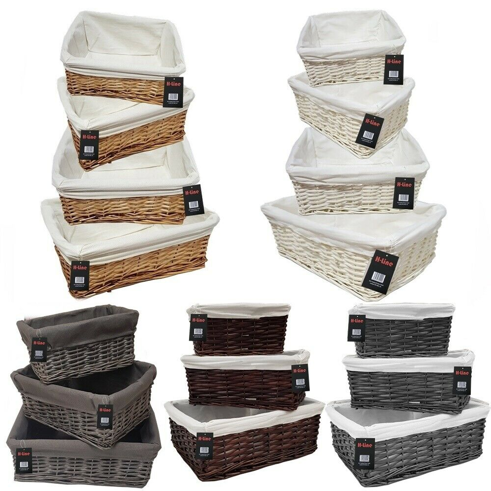 WICKER WILLOW STORAGE BASKETS LINING XMAS GIFT MAKE YOUR