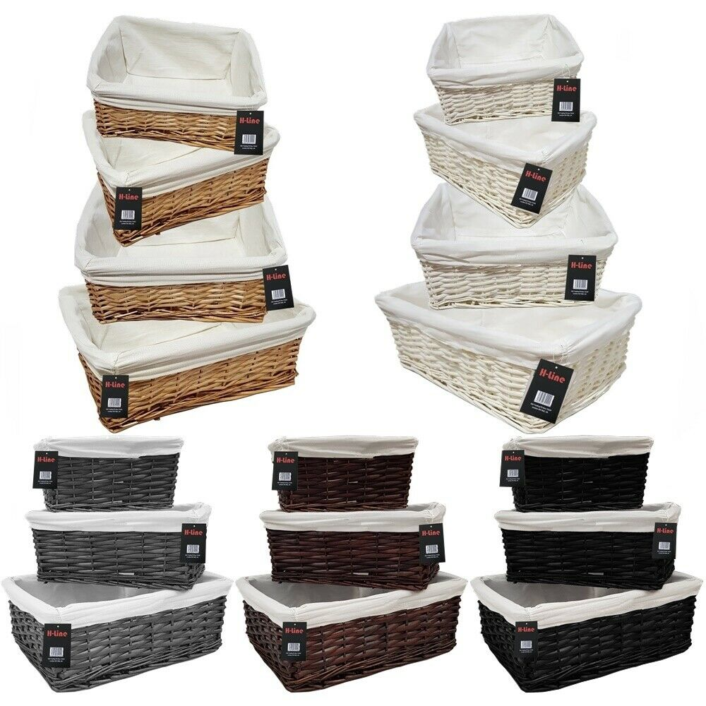 wicker willow storage baskets lining xmas gift make your. Black Bedroom Furniture Sets. Home Design Ideas