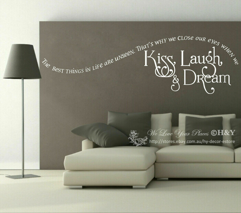 "Home Decor Stickers Wall: ""Kiss Laugh Dream"" Wall Quote Sticker Removable Vinyl"