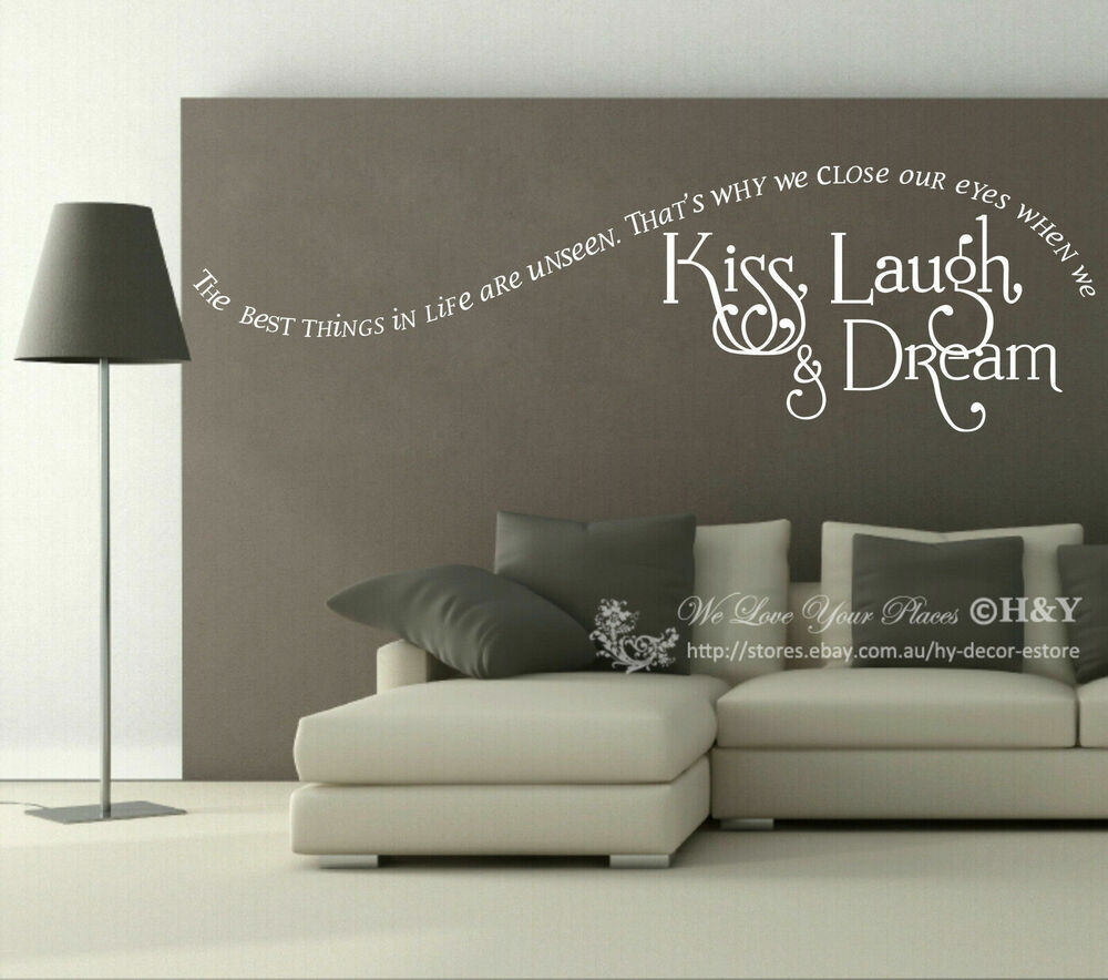 kiss laugh dream wall quote sticker removable vinyl. Black Bedroom Furniture Sets. Home Design Ideas