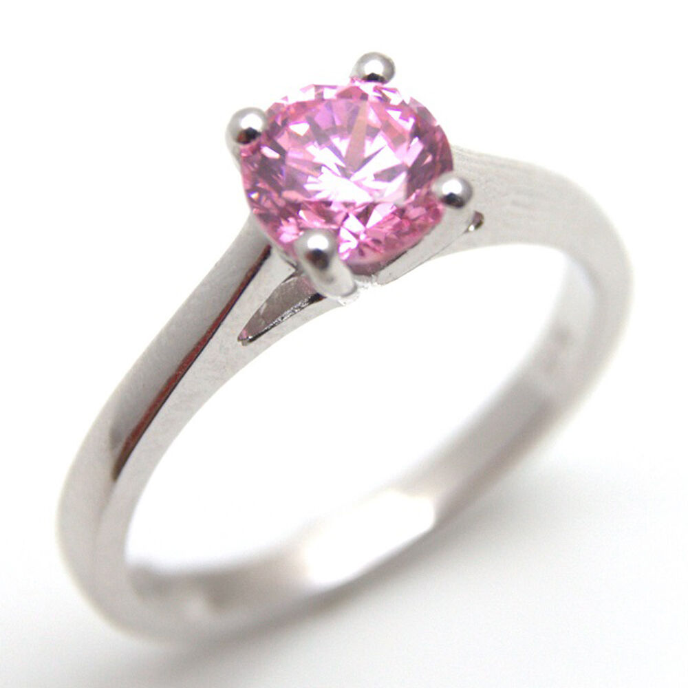 pink sapphire diamond unique 1ct solitaire ring solid. Black Bedroom Furniture Sets. Home Design Ideas
