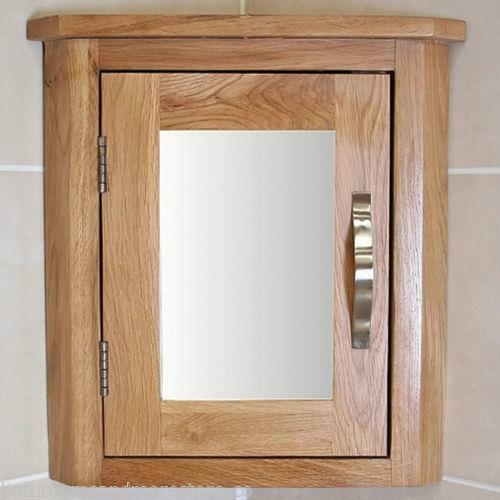 Oak wall mounted mirrored bathroom corner cabinet - Wall mounted bathroom storage units ...