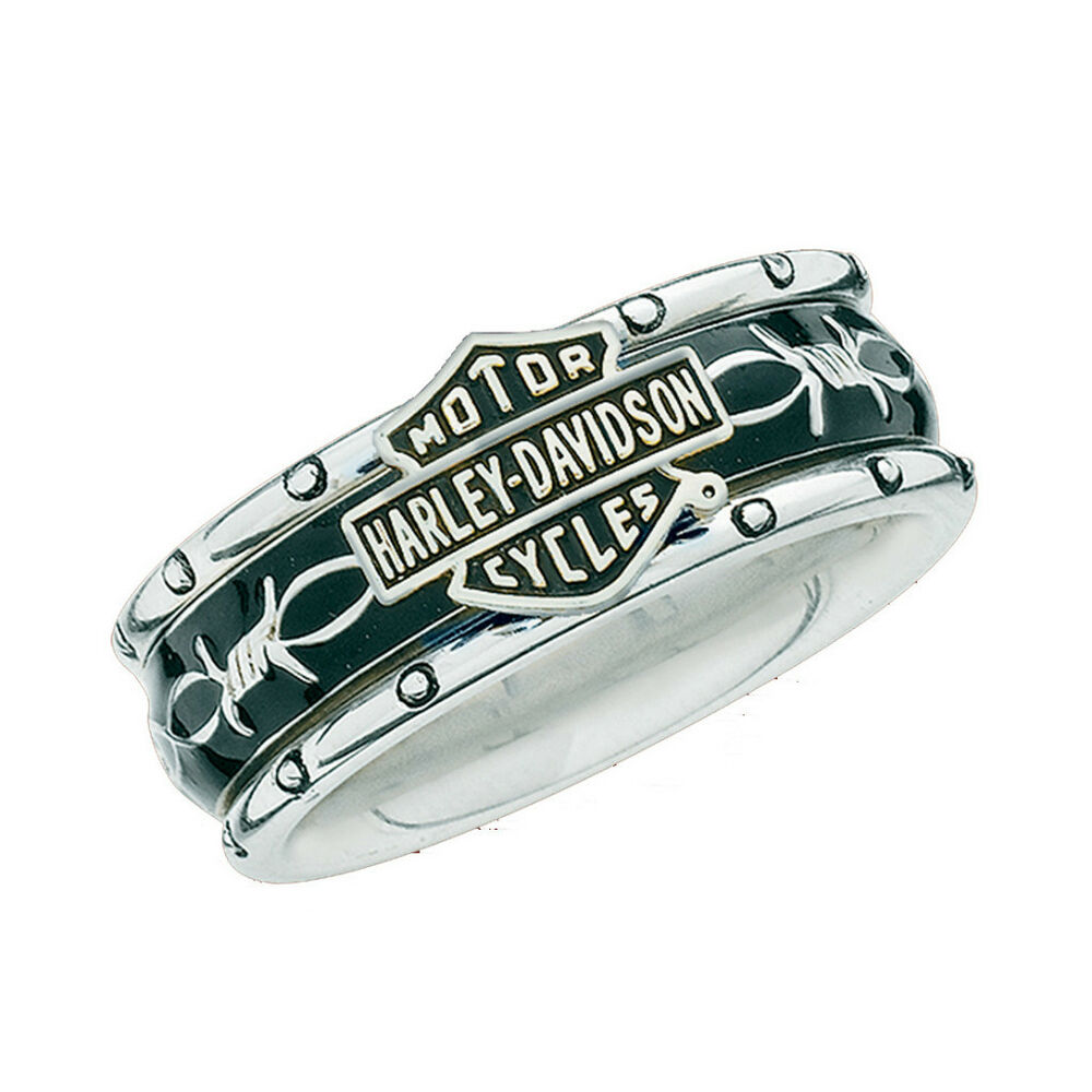 Harley davidson ladies sterling silver rumble roll ring for Harley davidson jewelry ebay
