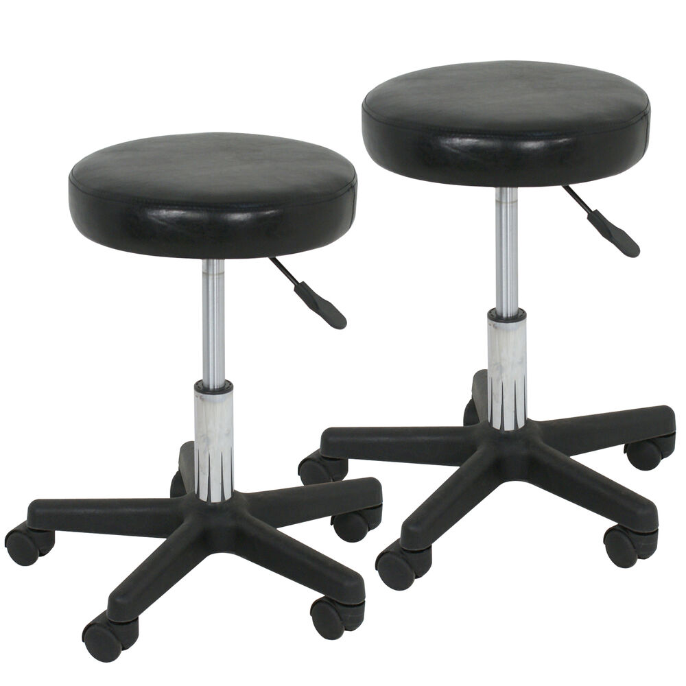 2 Black Adjustable Tattoo Salon Stool Hydraulic Rolling