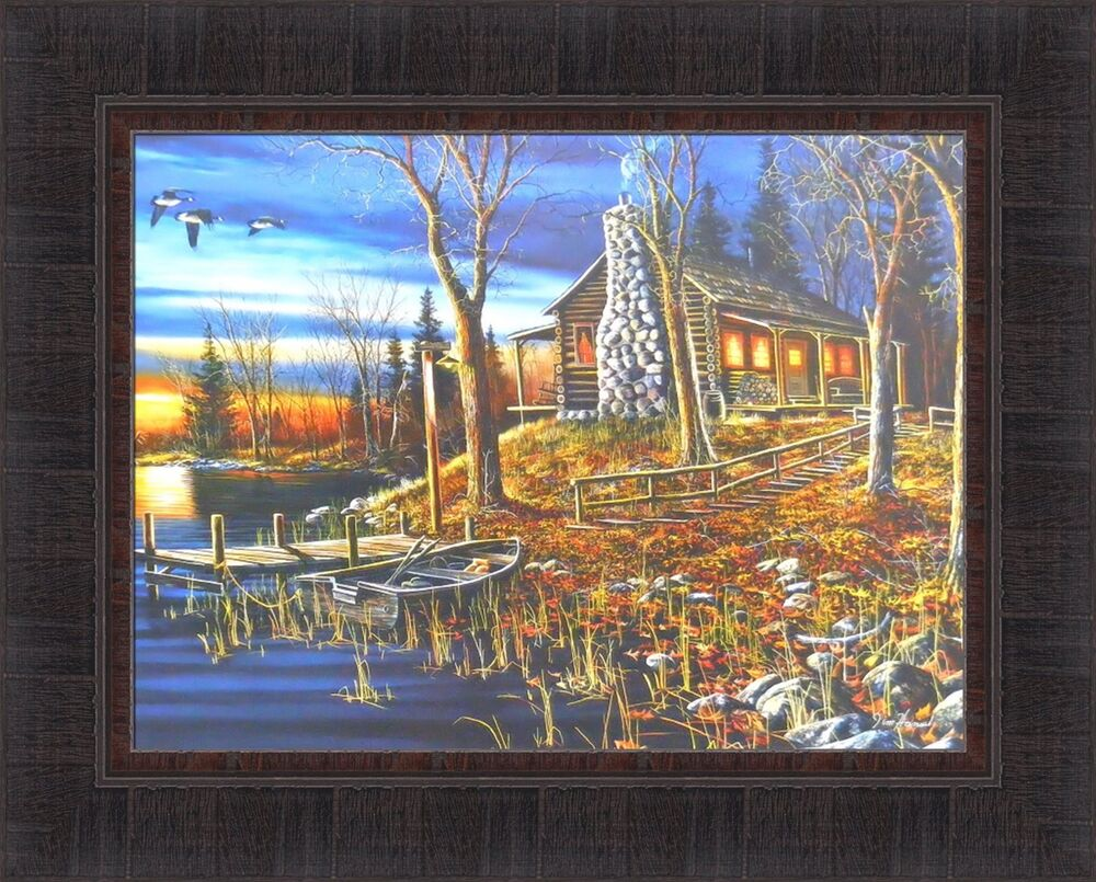 Complete Serenity By Jim Hansel 17x21 Log Cabin Lake Boat