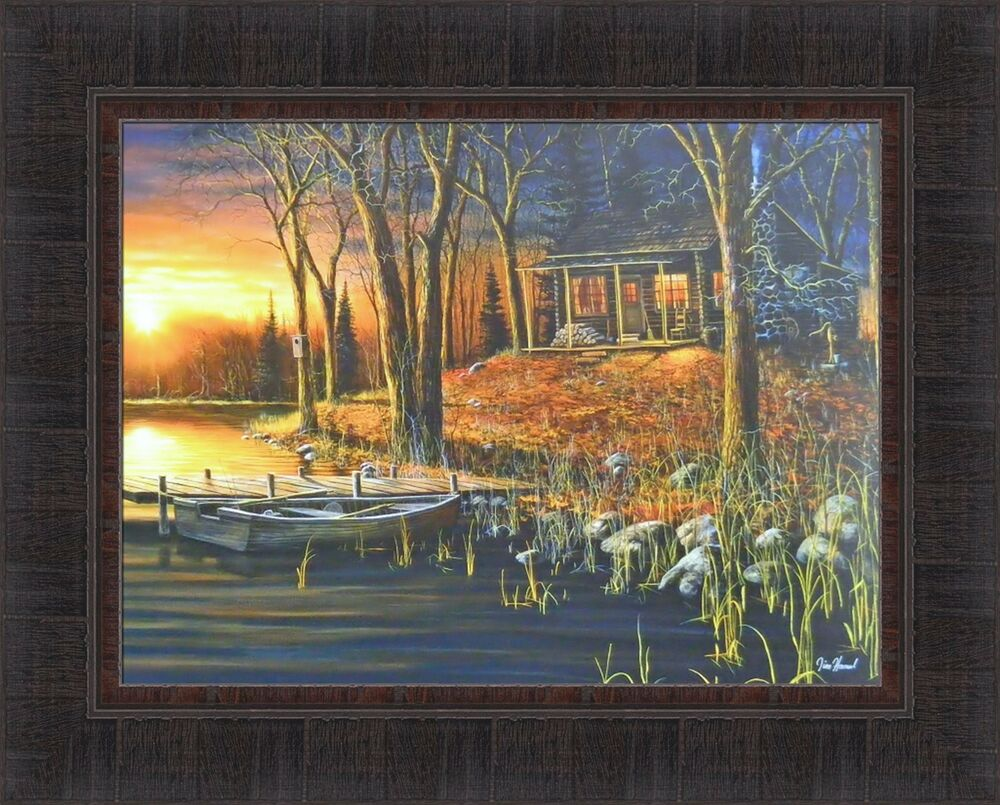 Simple Pleasures By Jim Hansel 17x21 Lake Log Cabin Boat