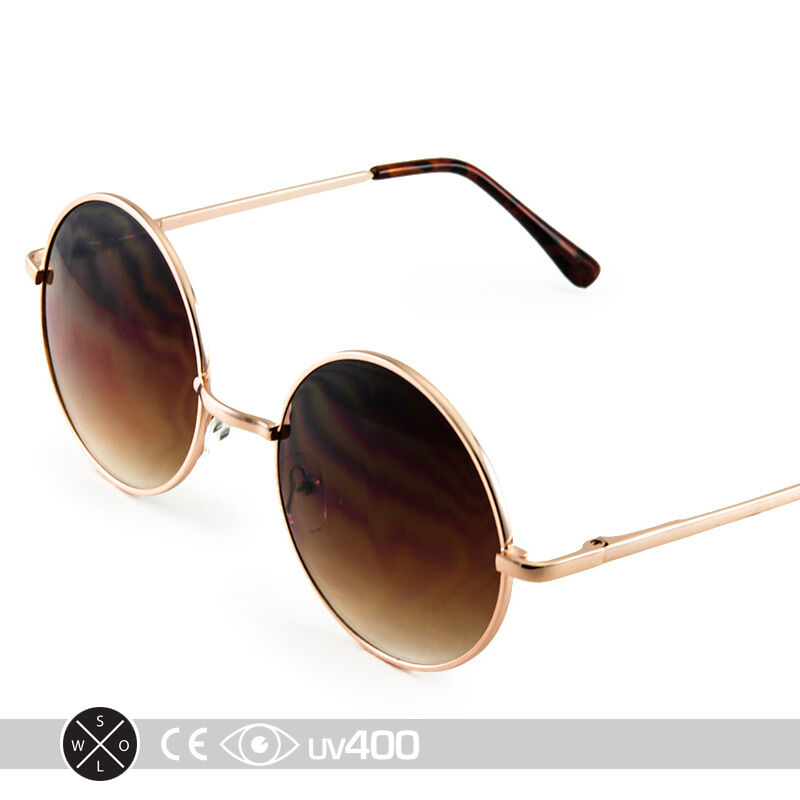 Gold Frame Round Circle Sunglasses Wire Frame Vintage Free ...