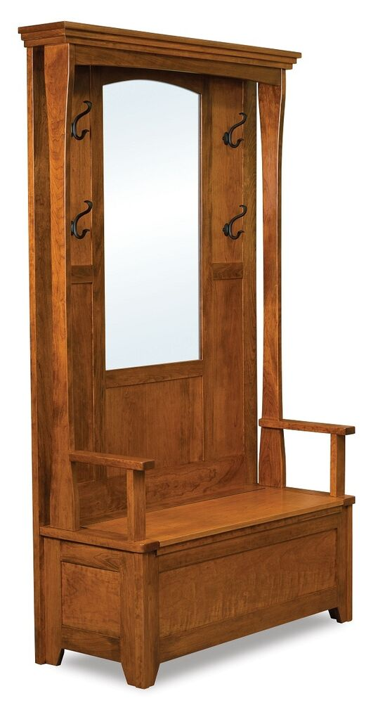 Amish Rustic Wood Hall Tree Storage Bench Mirror Hallway