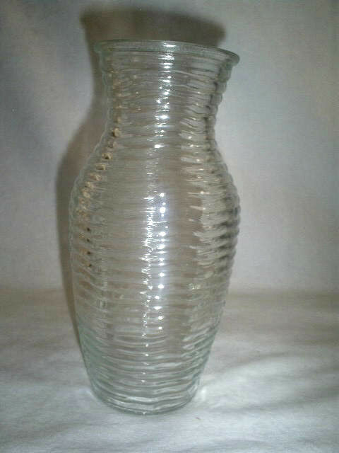 pair of tall horizontal ribbed urn style vase in clear glass ebay. Black Bedroom Furniture Sets. Home Design Ideas
