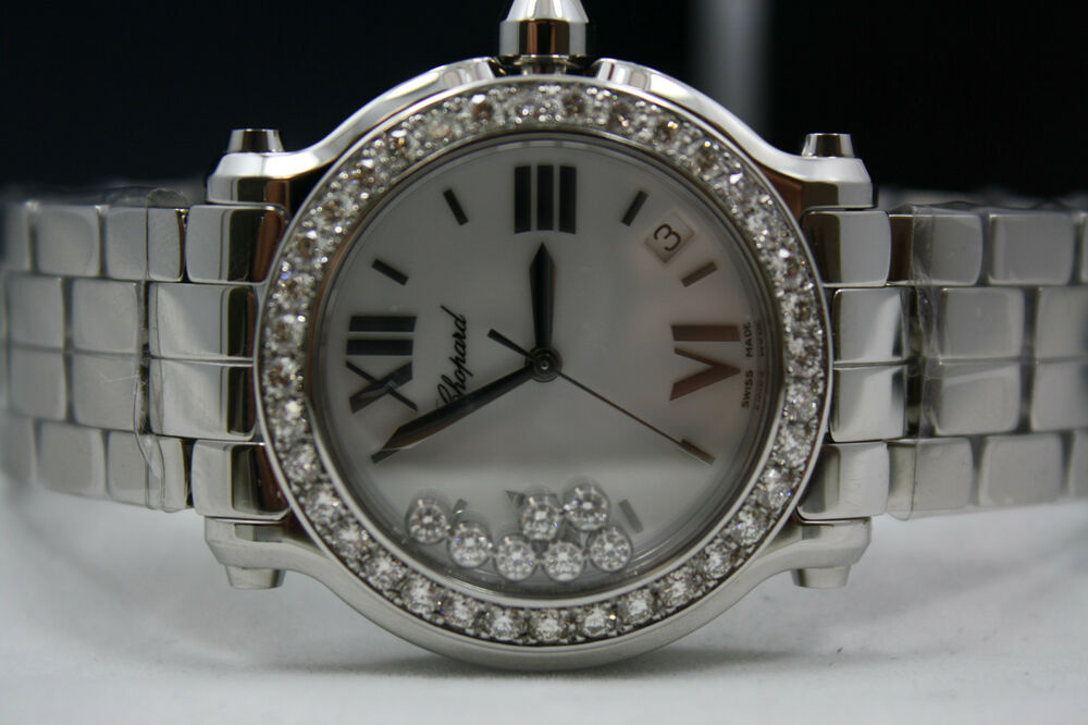 Chopard Happy Sport Stainless Diamond Encrusted Watch With