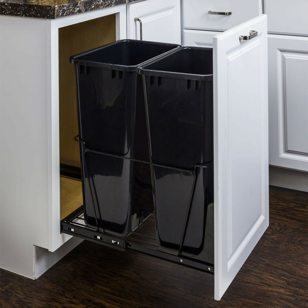 50 quart double pull out waste container system two black cans doorkit included ebay. Black Bedroom Furniture Sets. Home Design Ideas