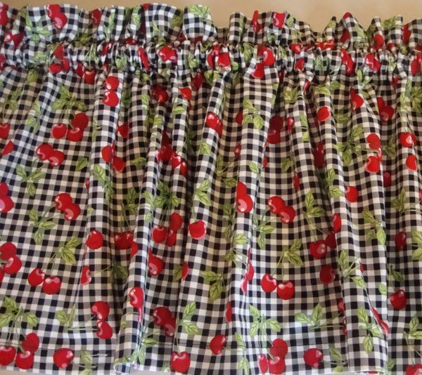 Gingham Curtains Red And White Gingham Curtains Kitchen: Cherries On Black And White Gingham Custom Made Valance