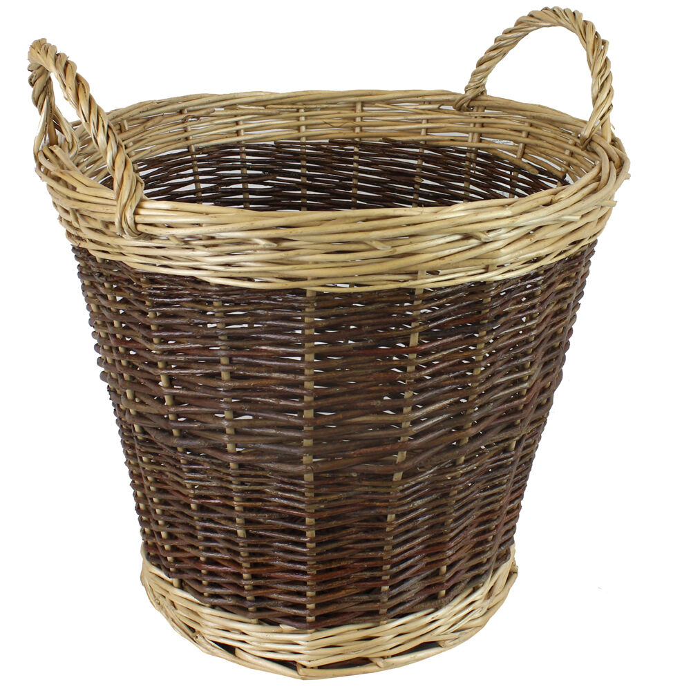 jvl willow wicker two tone log storage toy basket with handles 50 x 40cm ebay. Black Bedroom Furniture Sets. Home Design Ideas