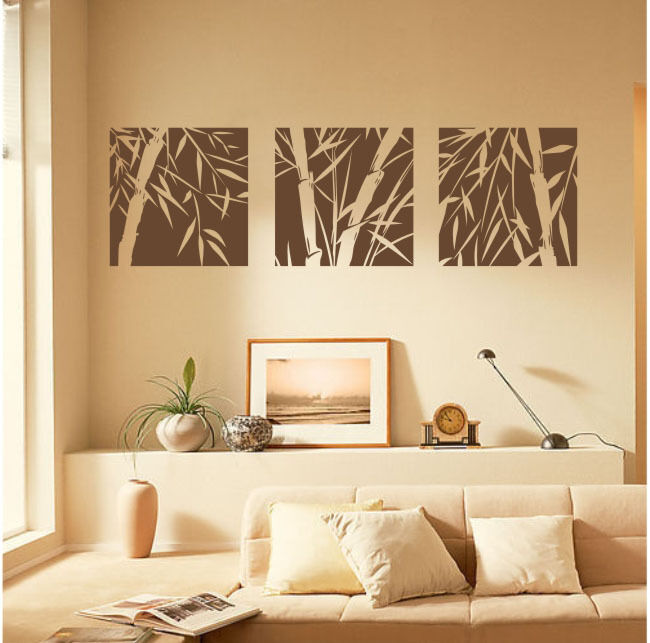 living room wall art 3 large pcs bamboo removable wall stickers vinyl decal 12894
