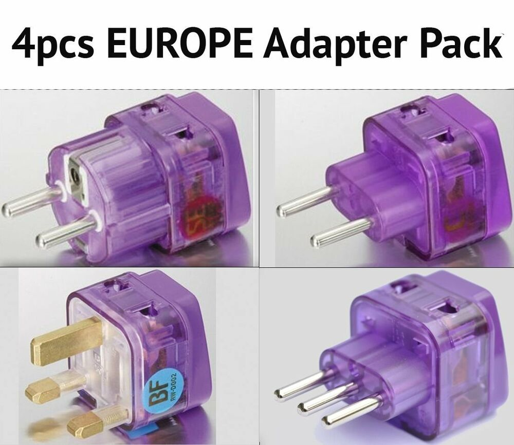 4 Pc Travel Adapter Plugs For Europe Uk United Kingdom
