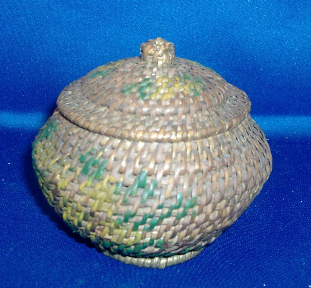 African Baskets With Lids: Vintage African Handwoven Basket Box With Lid Paint
