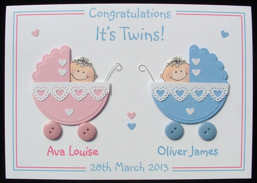 Personalised Handmade D New Baby Card Twins Ebay