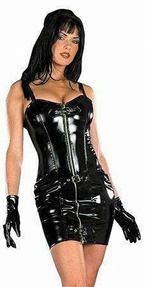 pvc lack dominakleid s 32 34 clubwear gogo vinyl dress ebay. Black Bedroom Furniture Sets. Home Design Ideas